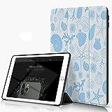 Carcasa para iPad 10.2 Inch, iPad Air 7.ª Generación ,Estrellas de mar, corales, erizos de mar y conchas marinas en tonos blancos y azules,incluye soporte magnético y funda para dormir/despertar