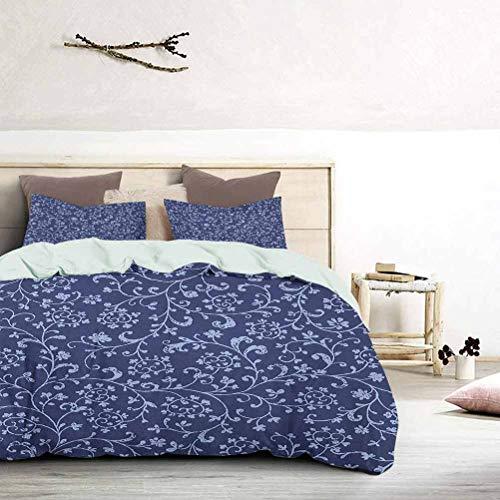 Juego de ropa de cama estilo barroco victoriano clásico con flores con efecto damasco, moderno y ligero, juego de colcha de lujo hipoalergénico estilo moderno índigo violeta azul, tamaño king