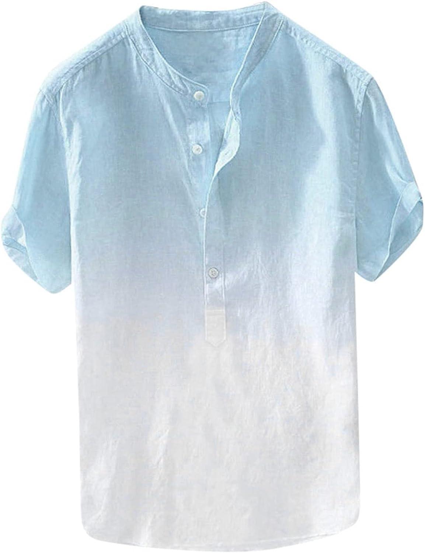 Men's Linen Shirts Short Sleeve Tie Dye Henley Shirts Summer Casual Beach Regular Fit Lightweight Tops Tee(A)