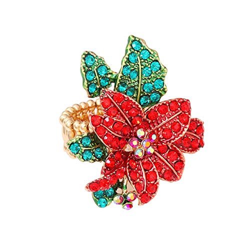 JYJ Christmas Ring for Women,Statement Crystal Christmas Jewelry for Women Xmas Poinsettia Flower Santa Tree Finger Ring Thanksgiving Party Accessories Gift (Poinsettai Flower, 6)