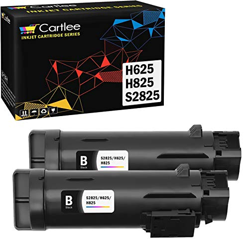 Cartlee 2 Black Compatible High Yield Laser Toner Cartridges Replacement for Dell H625cdw H825cdw S2825cdn H625 H825 s2825 Smart Color Multifunction Printers Ink