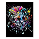 HERWS Big Poster Doodle Colorful Scary Skulls and Ferocious Animals Posters and Prints Canvas Paintings Wall Art Pictures for Living Room Decor