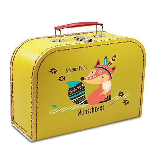 Kinderkoffer Pappe 40 cm gelb mit Fuchs und Wunschname, Malkoffer Spielzeugkoffer Spielkoffer Puppenkoffer Pappkoffer