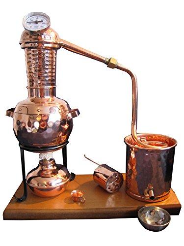 """Dr. Richter Premiumdestillen - Distillatore da 0,5 litri modello \""""""""Kalif\"""""""", mitcon cestello per gli aromi, termometro, fornello a spirito, bicchiere di raccolta del distillato Ideale per la creazione di grappe, spiriti e oli essenziali (idrolati)"""