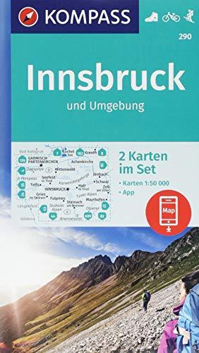 KOMPASS Wanderkarte Innsbruck und Umgebung: 2 Wanderkarten 1:50000 im Set inklusive Karte zur offline Verwendung in der KOMPASS-App. Fahrradfahren. Skitouren. (KOMPASS-Wanderkarten, Band 290)