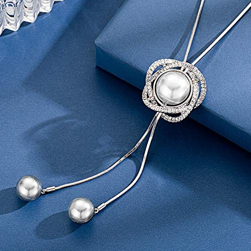 Lussuosa collana a catena lunga e ciondoli, da donna, a forma di goccia d'acqua, con cristalli grigi, gioiello da donna per feste, S5-bianco perla