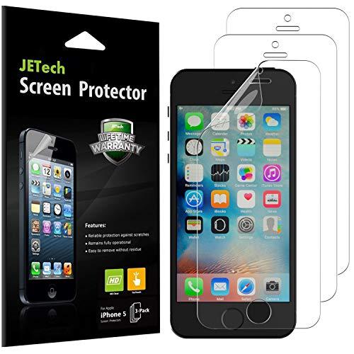JETech Schutzfolie für iPhone SE, iPhone 5s, iPhone 5c und iPhone 5, PET Displayschutzfolie, HD Klar, 3 Stück