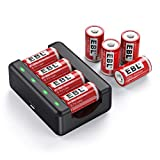 EBL CR2 Lithium Batteries with Charger, 3.7V 400mAh Rechargeable CR2 Battery RCR2 15270 Batteries 8 Pack