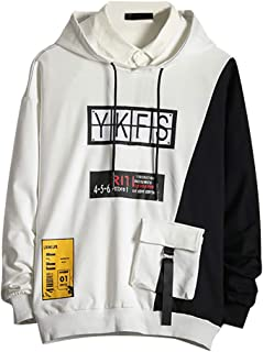 Opinionated Men's Casual Fashion Patchwork Hoodie Long Sleeves Hip hop Hooded Sweatershirt Pullover