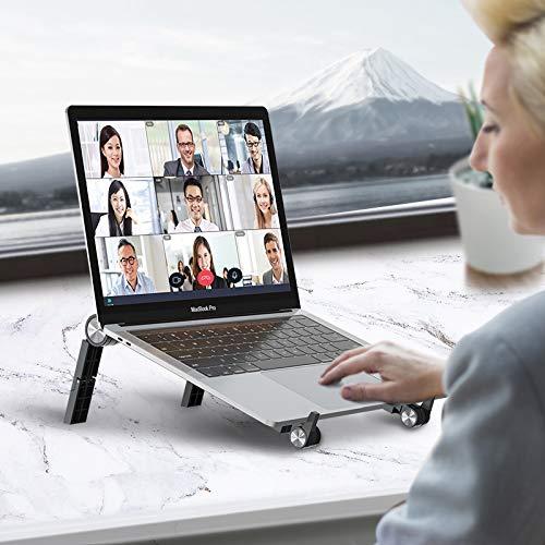 DesertWest Laptop Ständer Klappbar, Tragbarer Laptopständer Notebook Halterung, Höhenverstellbar Laptophalter Schreibtisch für 10-16 Zoll MacBook/Notebook/PC/iPad (Schwarz)