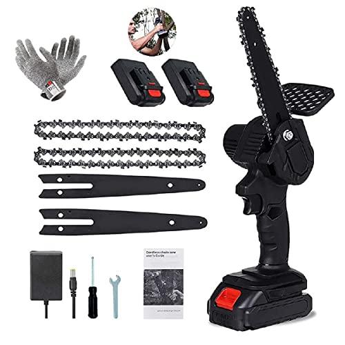Mini-Kettensäge, 6-Zoll-Akku-Kettensäge, 2 Batterien und 1Bürstenloser Kettensägenmotor, Elektrische 24-V-Handsäge mit einem Gewicht von 0.7 kg, ein Paar Anti-Schnitt-Handschuhe