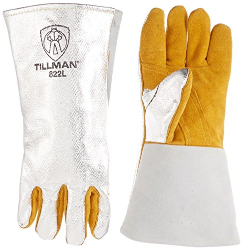 John Tillman Large Silver and Brown Leather and Aluminized Carbon Dupont Kevlar Wool Lined Welding Glove with Gauntlet Cuff