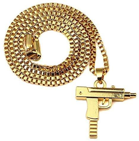 Collana con ciondolo a forma di pistola Uzi in acciaio inox, con catena per fucile supremo