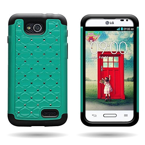 Wireless Central Hybrid Dual Layer Diamond Wydan Case for LG Optimus L90 D415 - Hard Teal Plastic + Soft Black Silicone