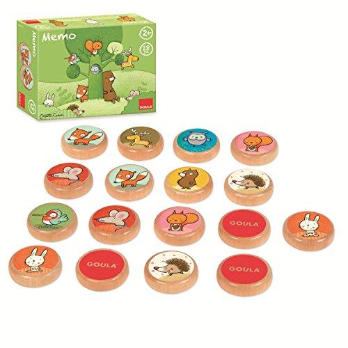 Goula- Memo Tom y Sus Amigos del Bosque Juego Educativo para Niños, Multicolor (53435)