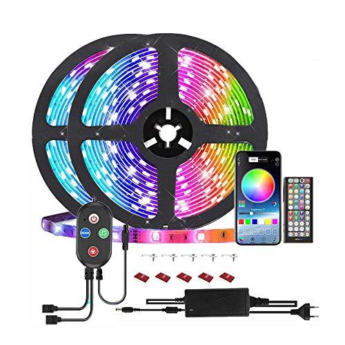 10M Bluetooth LED Streifen Musical 5050 RGB, LED Strip 300 LED Lichtband, APP-Steuerung und Fernbedienung, 5050 Lampenperlen12V, Wasserdicht IP65 Musikalische Funktion, Persönlicher Zeitplan,
