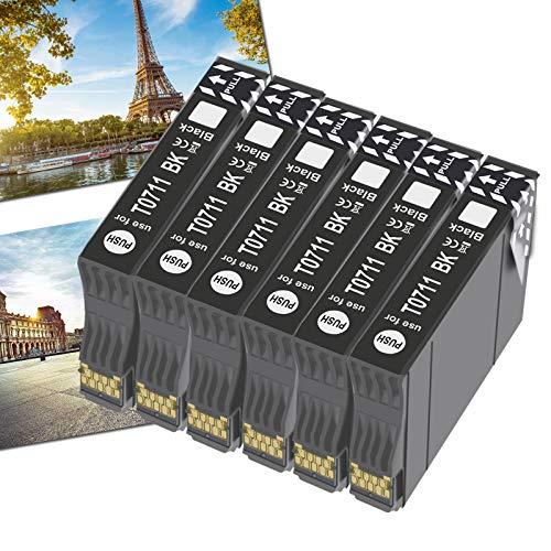 OGOUGUAN T0715 - Cartucho de tinta compatible con Epson T0711, T0712, T0713, T0714, con Epson Stylus SX200, SX215, SX218, SX400, SX415 SX510W, SX515W, DX4450, DX5050, DX6000 y DX8450(6), color negro