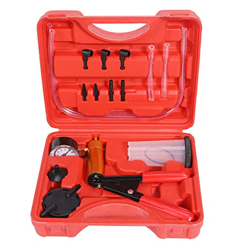 NA. Brake Bleeder Kit Hand Held Vacuum Pump Test Set Brake and Clutch Bleeding System Clutch Bleeding System with Adapters for for Motorcycle Car Truck Vehicle (Red)