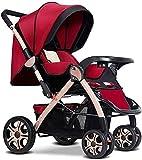 Cochecito de bebé ligero, altos paisajes plegables, sentarse y colocar súper luz Portátil Portátil Cochecito de cuatro ruedas, cuatro temporadas Cochecito universal (Color : Red)