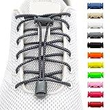 BENMAX SPORTS Schnürsenkel ohne Binden - Elastische Gummi Schuhbänder, Elastisch Schnellverschluss Elastic Shoelaces, Kinder Schuhe Zubehör, 1 Paar - 120 cm - 11 Bunte Farben (Grau, 1 Paar)