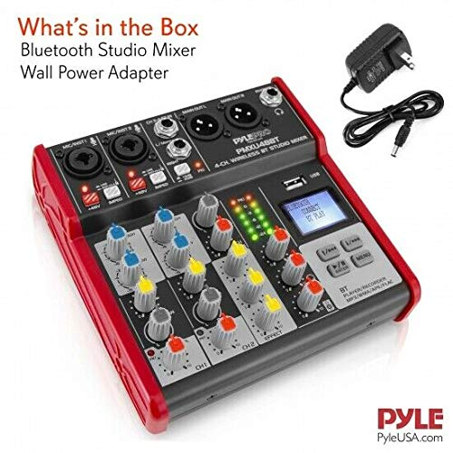 Pyle Sound 4 Channel Bluetooth Compatible Professional Portable Digital DJ Console W/USB Mixer Audio Interface-Mixing Boards for Studio Recording PMXU48BT.5
