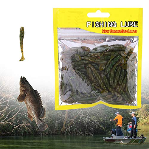Pangding Wits Baits, 50PCS 5cm Soft Plastic Fishing Lures T-Tail Grub Worm Baits Accesorios para Peces(Negro)
