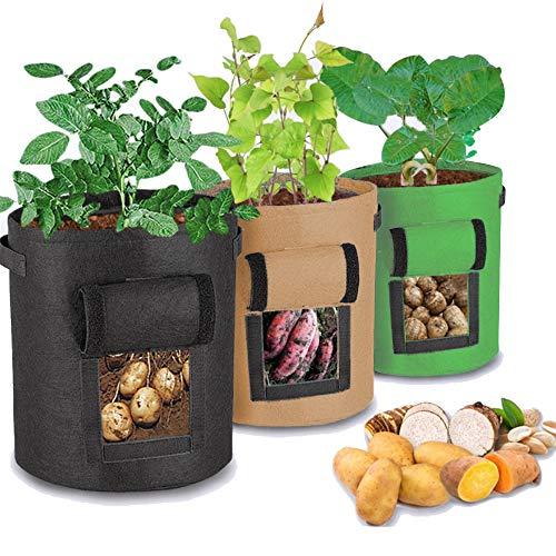 Unique-Fit Potato Grow Bag 3 Packs Update Garden Vegetables Planter Bags with 4 Drain Holes and Velcro Window, 7 Gallon Potato Bag Planter (Black + Green + Brown) (Brown+Green+Black)