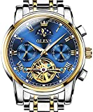 OLEVS Automatic Mechanical Men Watch Blue Face Moon Phase Stainless Steel Dress Fashion Business Luminous Waterproof Date Week Male Wrist Watch