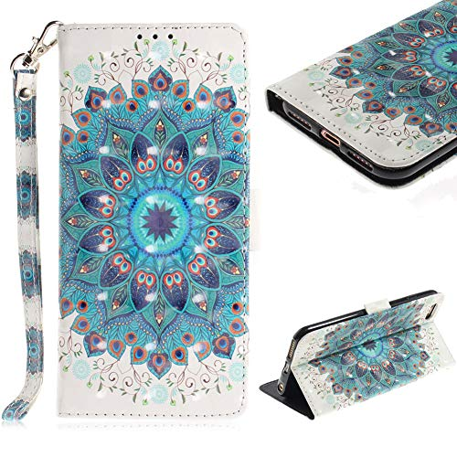 Cistor Wallet Case for iPhone 6 Plus/6S Plus,Stylish 3D Painting Stand Flip Cover Shockproof PU Leather Protective Case with Strap Card Slot Magnetic Closure for iPhone 6 Plus/6S Plus,Peacock Flower