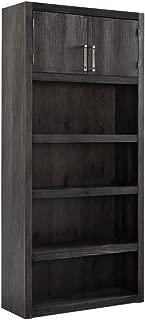 Ashley Furniture Signature Design - Raventown Large Bookcase - 2 Adjustable Shelves/1 Fixed Middle Shelf/Upper Cabinet- Contemporary - Grayish Brown Finish