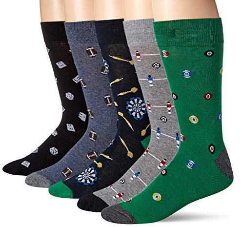 Amazon Brand - Goodthreads Men's 5-Pack Patterned Socks, Games, One Size