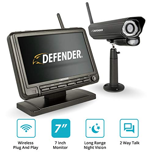 """Defender PHOENIXM2 Wireless Outdoor Security Camera System with a 7"""" High Resolution Monitor,One Night Vision Camera, Two Way Communication and SD Card Recording Plug and Play Security Surveillance"""