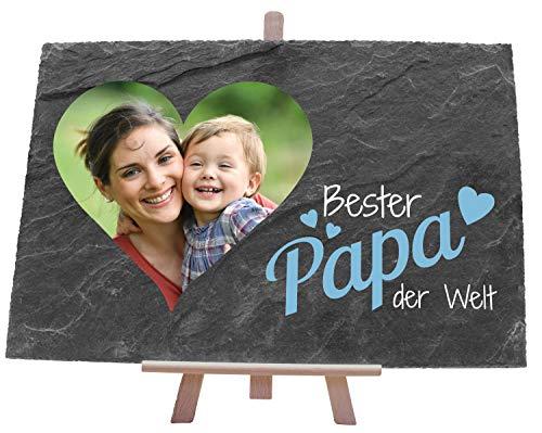 wandmotiv24 Schiefertafel Vatertag mit Holz-Staffelei, Personalisiert mit Herz-Foto + Spruch Bester Papa in Blau, Digitaldruck, Querformat 30x20cm...