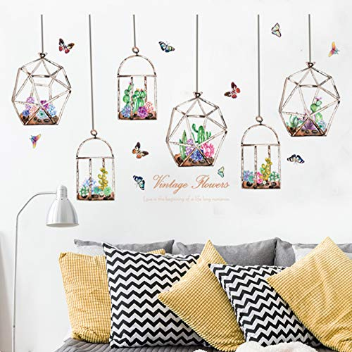 FGFDHJ Coloridas flores cactus colgando en la botella de cristal pegatinas de la pared de la mariposa pegatinas para la sala de estar dormitorio arte calcomanías murales