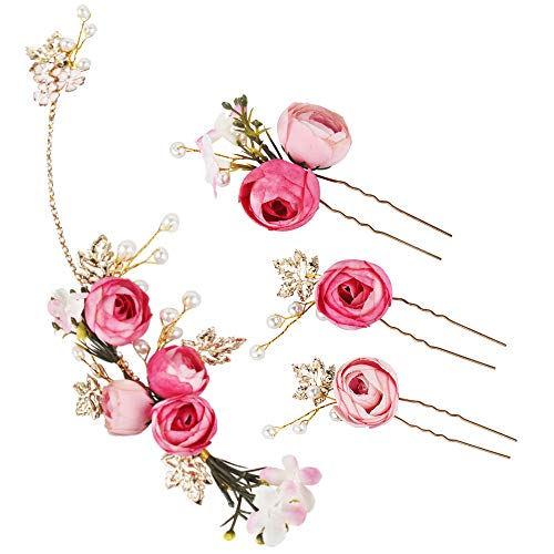 4 Pcs En forma de U Rosa Flor de Horquilla Pernos del Pelo de la Perla del Rhinestone Accesorios de Boda para la Novia Dama de Honor de Tiara (Rosa)