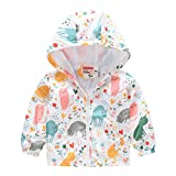Toddler Boys Girls Waterproof Hooded Jacket, Kids Zipper Raincoats Outdoor Lightweight Windbreaker Cartoon Rain Jacket