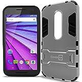 Motorola Moto G 3rd Gen Case, CoverON [Shadow Armor Series] Hard Slim Hybrid Kickstand Phone Cover Case for Motorola Moto G 3rd Generation 2015 - Silver Black