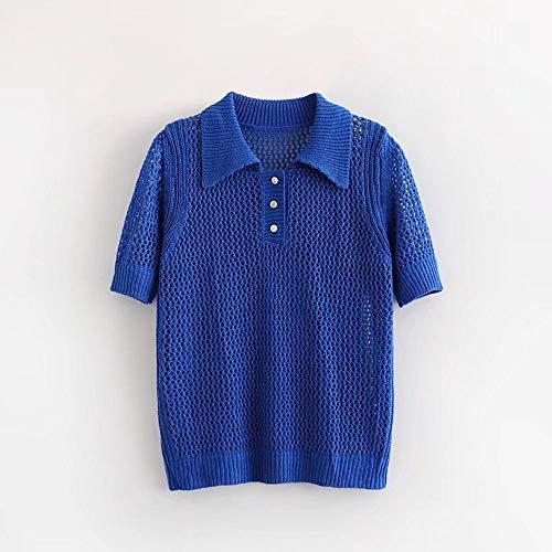 WDSFT Manches Courtes Bouton Femme Tricot Creux Polo Chemises Hauts Chemisier (Nouveau Design) (Color : Blue, Size : One Size)