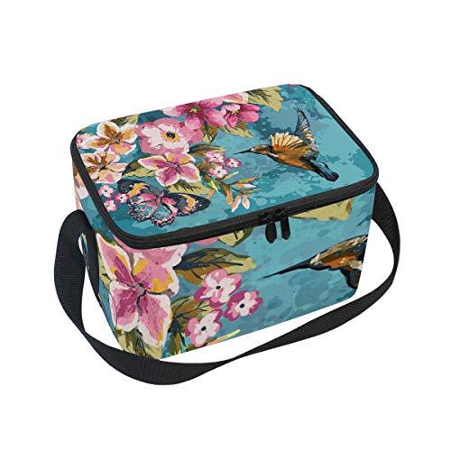 Ahomy Boîte à déjeuner Isotherme Colibri Fleur Papillon Colibri Sac fourre-Tout Isotherme pour extérieur école, Bureau, boîtes à déjeuner Organisateur pour Enfants et Adultes