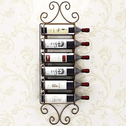 MQJ Alenamiento de Vinos Simple Modern Wine Rack Sala de Estar Arte Colgante Vino Rack Bar Home Creative Wall Mounted Wine Storage,Marrón