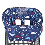2-in-1 Shopping Cart and High Chair Cover for Baby~Padded~Fold'n Roll Style~Portable with Free Carry Bag (Blue Whale)