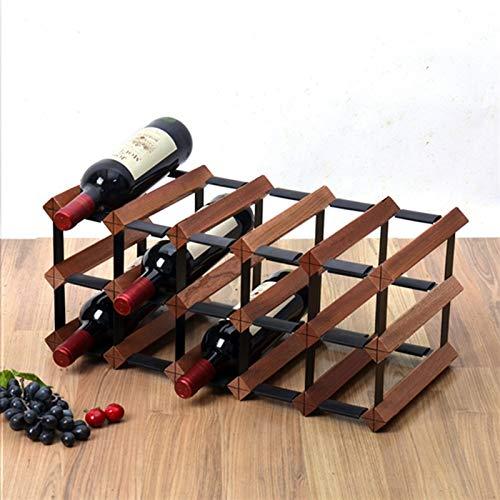 15/15/18 Botellas de gabinete de Madera de Estante de Vino autosuficiente - Tenedor de Botella Vintage Robusto, Almacenamiento del Enfriador de Vino, Organizador de Botellas de Vino en la Mesa
