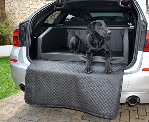 Mayaadi Home Premium Hundebett - 100 x 70 cm - Hochwertiger Autositz für Deinen Hund - Autohundebett mit Schutzdecke - Kofferraum Bett Hunde - Kunstleder - Travel - Schwarz - M