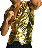 Old School Mens Halloween MC Hammer Vest Gold (ONE SIZE)