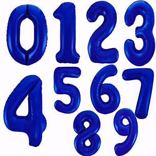 Globo Número Gigante en Metalizado Ideal para Fiesta de cumpleaños y Aniversarios - 105 cm - Hinchable (Azul, Número 2)