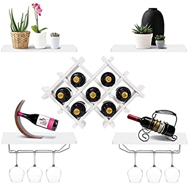 Giantex Set of 5 Wall Mount Wine Rack Set w/Storage Shelves and Glass Holder (White)