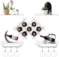 Giantex Set of 5 Wall Mount Wine Rack Set w/ Storage Shelves and Glass Holder (White)