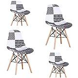 Un conjunto de 4 sillas de madera de haya con diseño de patchwork tapizado a mano y diseño sin brazos (negro)