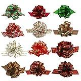 LABOTA 12 pcs Lazos de Cinta Ribbons Suministros para Envolver Regalos Navidad decoración de Botellas de Vino, Accesorio de Regalo fácil y rápido
