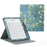 MoKo Case Fits All-New Kindle Oasis (9th and 10th Generation ONLY, 2017 and 2019 Release), Multi Angle Viewing Vertical Flip Cover with Auto Wake/Sleep - Almond Blossom